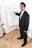 Businessman's Presentation. 23 year old businessman making a presentation on business success. Serious expression. Pointing to writing on a white board with a stock photos