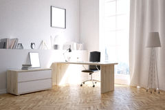 Businessman's room at home. Study room for busy businessman. Concept of extra work at home. 3d rendering. Mock up Stock Photography