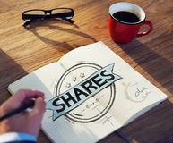 Businessman's table with Shares Concept Stock Photography