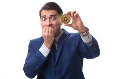 The businessman sad about bitcoin price crash. Businessman sad about bitcoin price crash royalty free stock photo