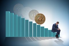 The businessman sad about bitcoin price crash. Businessman sad about bitcoin price crash royalty free stock image