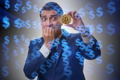The businessman sad about bitcoin price crash. Businessman sad about bitcoin price crash stock photo