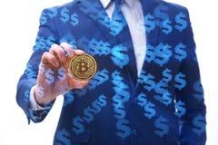 The businessman sad about bitcoin price crash. Businessman sad about bitcoin price crash royalty free stock images