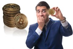 The businessman sad about bitcoin price crash. Businessman sad about bitcoin price crash stock image