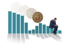 The businessman sad about bitcoin price crash. Businessman sad about bitcoin price crash stock photos
