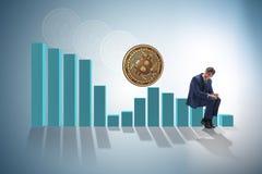 The businessman sad about bitcoin price crash. Businessman sad about bitcoin price crash royalty free stock photos