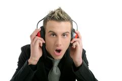 Businessman with safety headphones Stock Images