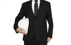 Businessman with safety helmet Stock Images