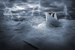 Free Businessman Sailing In Stormy Papers Sea Royalty Free Stock Photos - 21000508