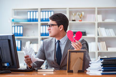 The businessman in saint valentine concept in office Stock Photo