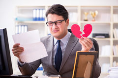 The businessman in saint valentine concept in office Stock Image