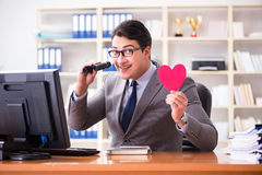 The businessman in saint valentine concept in office Royalty Free Stock Images