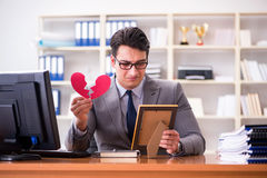 The businessman in saint valentine concept in office Stock Photos