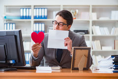 The businessman in saint valentine concept in office Royalty Free Stock Image