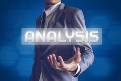 Businessman or Salaryman with Analysis text modern interface con. Cept Stock Photo