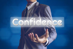 Businessman or Salaryman with confidence text modern interface c. Oncept Stock Photography