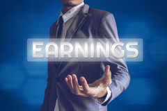 Businessman or Salaryman with Earnings text modern interface con Stock Image