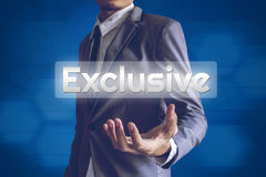 Businessman or Salaryman with Exclusive text modern interface co. Ncept Royalty Free Stock Image