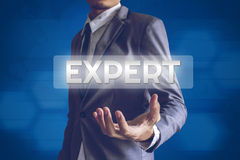 Businessman or Salaryman with Expert text modern interface conce. Pt Royalty Free Stock Photo