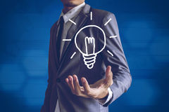 Businessman or Salaryman with idea text modern interface concept.  Royalty Free Stock Photography