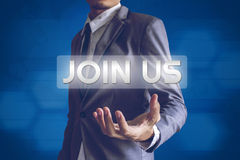 Businessman or Salaryman with JOIN US text modern interface conc Stock Photography