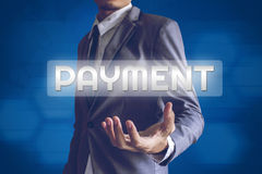 Businessman or Salaryman with PAYMENT text modern interface conc. Ept Stock Photo