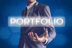 Businessman or Salaryman with Portfolio text modern interface co. Ncept Royalty Free Stock Image