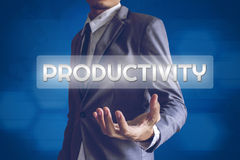 Businessman or Salaryman with productivity text modern interface. Concept Stock Photography