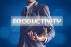 Businessman or Salaryman with productivity text modern interface Stock Photography