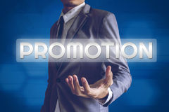 Businessman or Salaryman with Promotion text modern interface co. Ncept Stock Photo