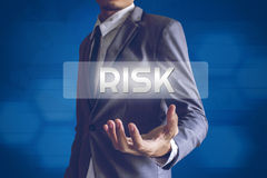 Businessman or Salaryman with Risk text modern interface concept.  Royalty Free Stock Photo