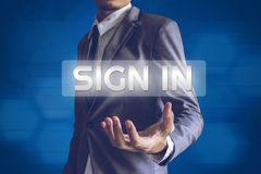 Businessman or Salaryman with Sign in text modern interface conc. Ept Royalty Free Stock Photography