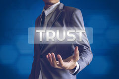 Businessman or Salaryman with Trust text modern interface concep. T Royalty Free Stock Photo