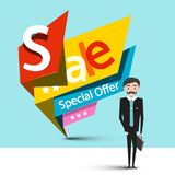 Businessman with Sale Tags. Businessman with Colorful Paper Sale Tags Vector Illustration