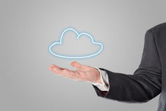 Businessman, salesman, cloud symbol in the hand Royalty Free Stock Images