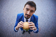 Businessman with sandwich Stock Photos