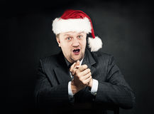 Businessman in Santa Hat. Christmas and New Year Concept. Humor Royalty Free Stock Photos
