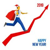 Businessman in Santa hat running up. Businessman in Santa hat with gift bag running grow up graph to 2019 point. New year concept for card, poster or annual Stock Images