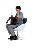 Businessman sat down Royalty Free Stock Image