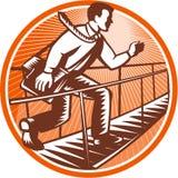 Businessman Satchel Bag Running Bridge. Illustration of a businessman with satchel bag walking running crossing foot bridge done in retro woodcut style set Stock Photography