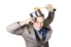 Businessman With Saucepan And Spatula Royalty Free Stock Image
