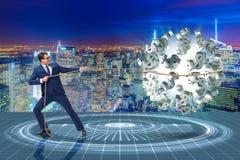 The businessman saving american dollar concept Stock Image