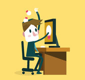 Businessman Saving ideas from internet to his head. Knowledge, education and research concept. Stock Photo