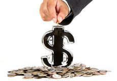 Businessman saving money. Growing business isolated white background Royalty Free Stock Photography