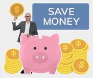 Businessman saving money in a piggy bank stock image