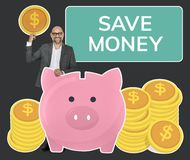 Businessman saving money in a piggy bank stock images