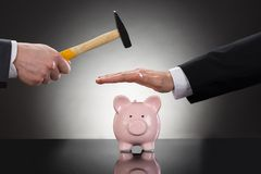 Businessman saving piggybank from hammering Royalty Free Stock Images