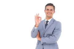 Businessman saying ok with his hand Stock Photo