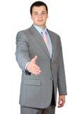 Businessman saying welcome Stock Photos