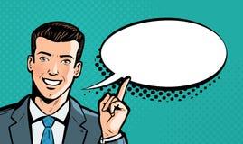 Businessman says. Business concept. Pop art retro comic style. Cartoon vector illustration. Businessman says. Business concept. Pop art retro comic style vector illustration